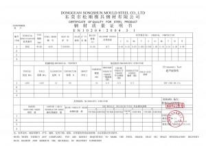 Certificado de calidad de acero 4140