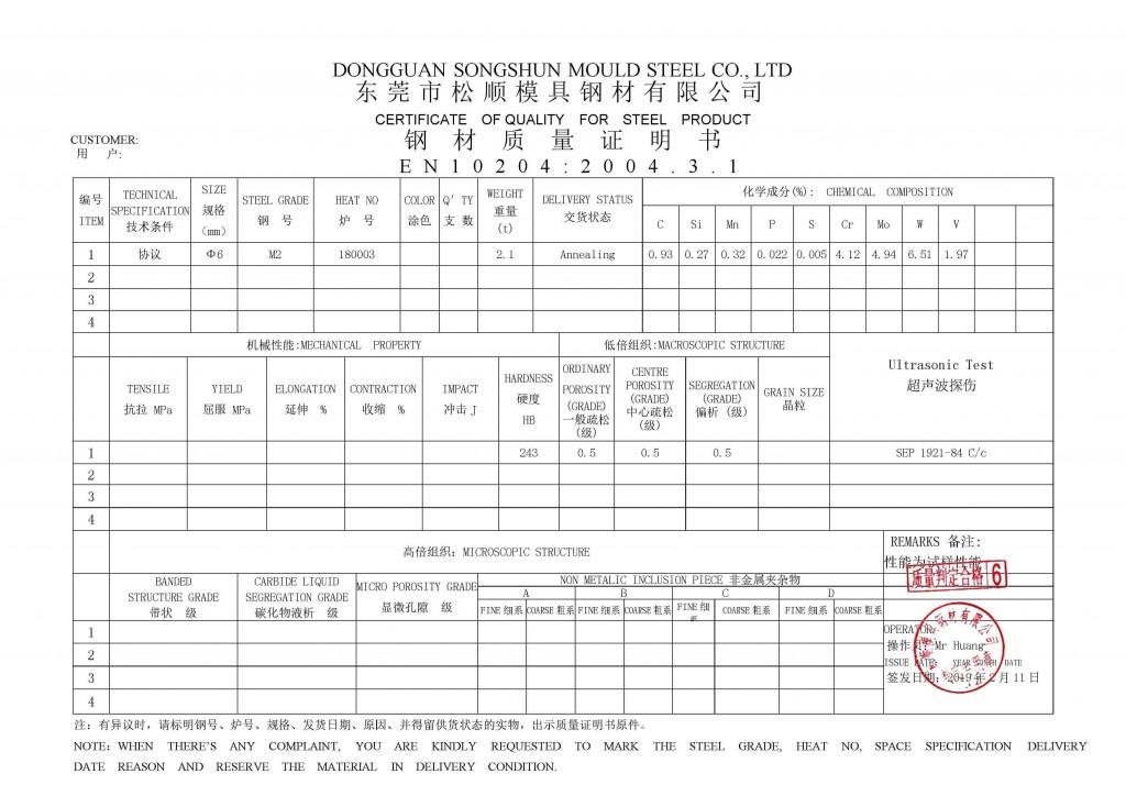 Certificado de calidad de acero M2