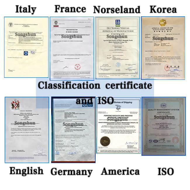 certificado de acero Songshun 3