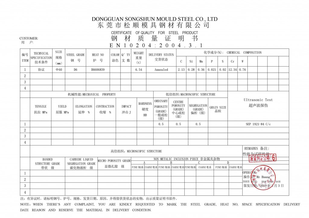 d6 certificado de calidad